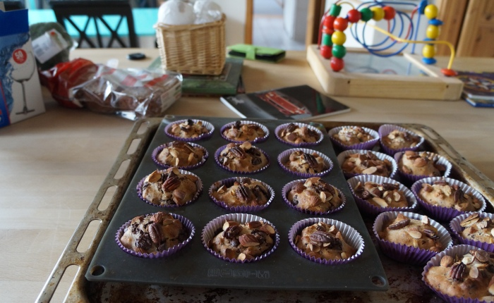 Healthy muffins with chocolate and nuts