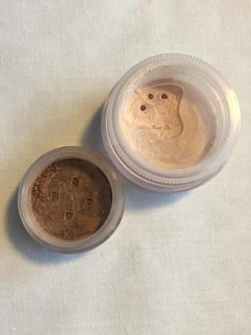 All Over Face Colour in Faux Tan and Mineral Veil. From left to right